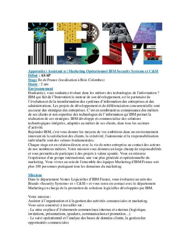 ibm offre apprentissage