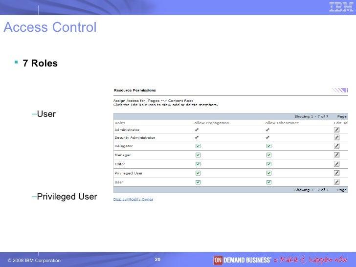 Access Control <ul><li>7 Roles </li></ul><ul><ul><li>User </li></ul></ul><ul><ul><li>Privileged User </li></ul></ul><ul><u...
