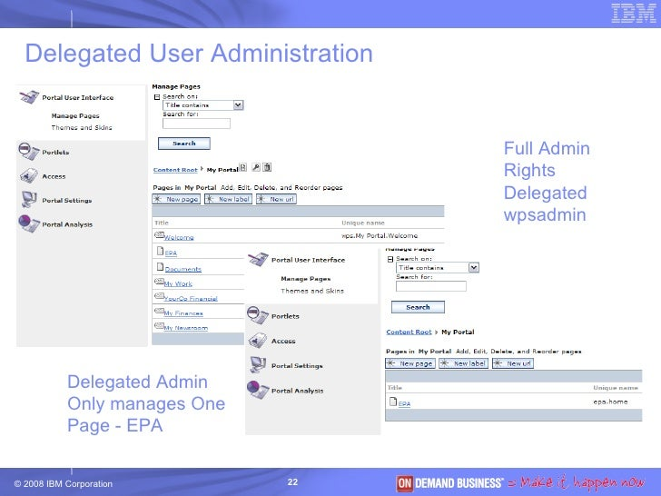 Delegated User Administration Full Admin Rights Delegated wpsadmin Delegated Admin Only manages One  Page - EPA
