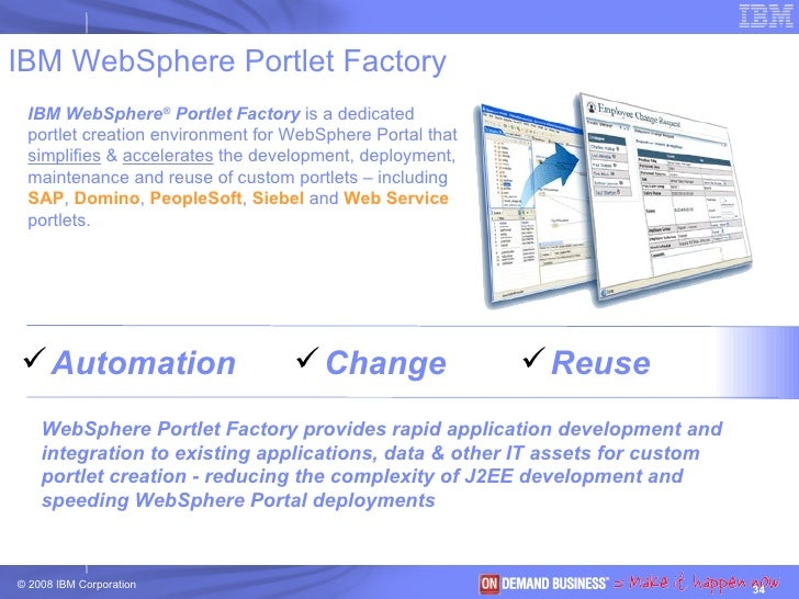IBM WebSphere Portlet Factory IBM WebSphere ®  Portlet Factory  is a dedicated portlet creation environment for WebSphere ...