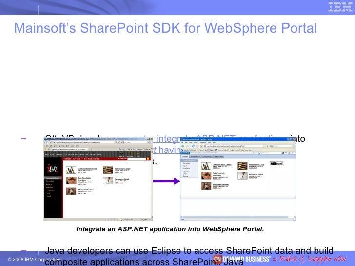 Mainsoft's SharePoint SDK for WebSphere Portal <ul><ul><li>C#, VB developers  create, integrate ASP.NET applications  into...