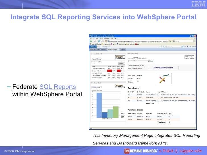 <ul><ul><li>Federate  SQL Reports  within WebSphere Portal. </li></ul></ul><ul><ul><li>Integrate with  IBM Dashboard   to ...