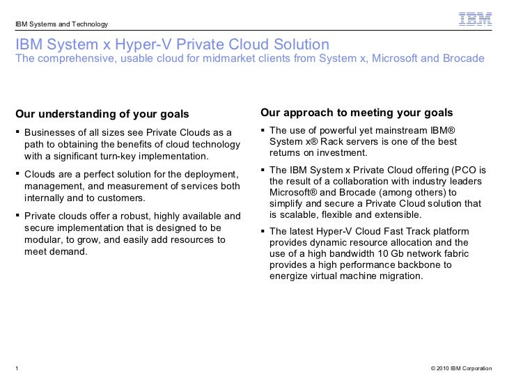 IBM System x Hyper-V Private Cloud Solution The comprehensive, usable cloud for midmarket clients from System x, Microsoft...