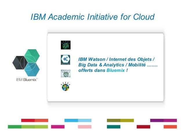 1 IBM Academic Initiative for Cloud IBM Watson / Internet des Objets / Big Data & Analytics / Mobilité ……. offerts dans Bl...