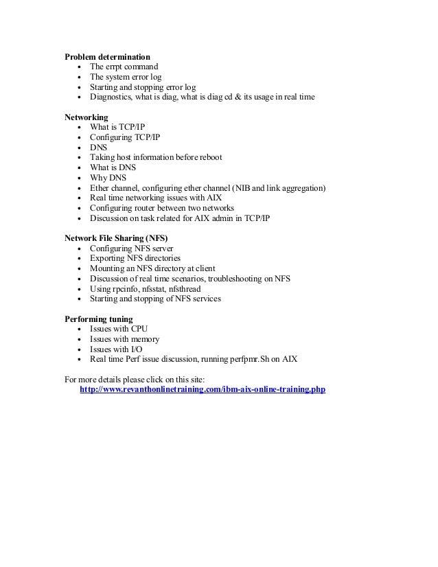 aix admin resume