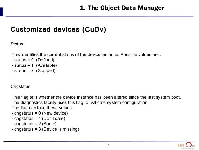 19 1. The Object Data Manager Customized devices (CuDv) Status This identifies the current status of the device instance. ...