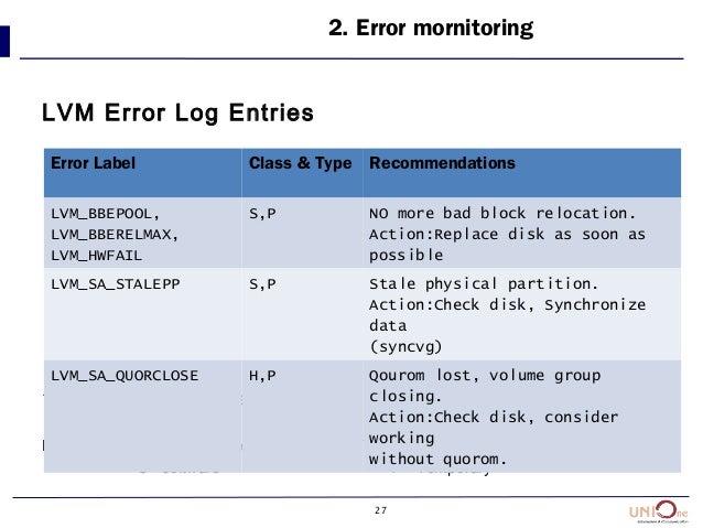 27 LVM Error Log Entries * error class : H=hardware Error Classes : H = hardware Error Types : P = permanent S= software T...