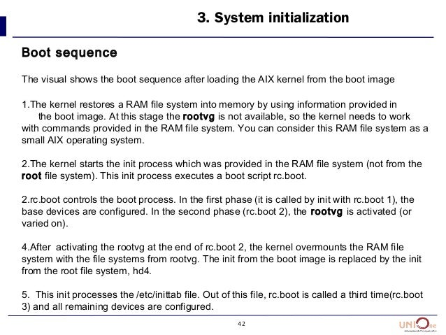 42 3. System initialization Boot sequence The visual shows the boot sequence after loading the AIX kernel from the boot im...