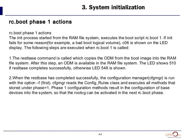44 3. System initialization rc.boot phase 1 actions rc.boot phase 1 actions The init process started from the RAM file sys...