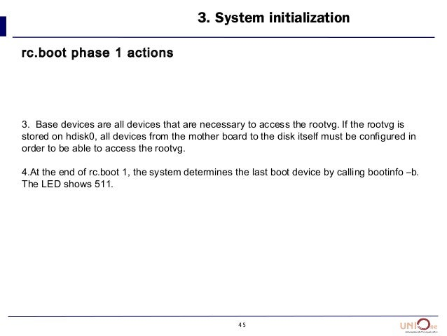 45 3. System initialization rc.boot phase 1 actions 3. Base devices are all devices that are necessary to access the rootv...