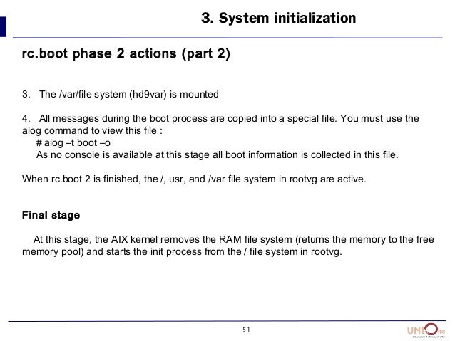 51 3. System initialization rc.boot phase 2 actions (part 2) 3. The /var/file system (hd9var) is mounted 4. All messages d...