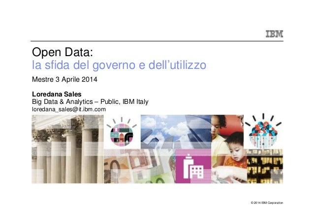 © 2014 IBM Corporation Open Data: la sfida del governo e dell'utilizzoAAA Mestre 3 Aprile 2014 AAA Loredana Sales Big Data...
