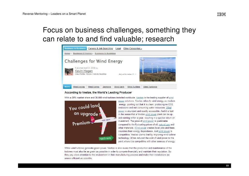 Reverse Mentoring – Leaders on a Smart Planet                   Focus on business challenges, something they              ...