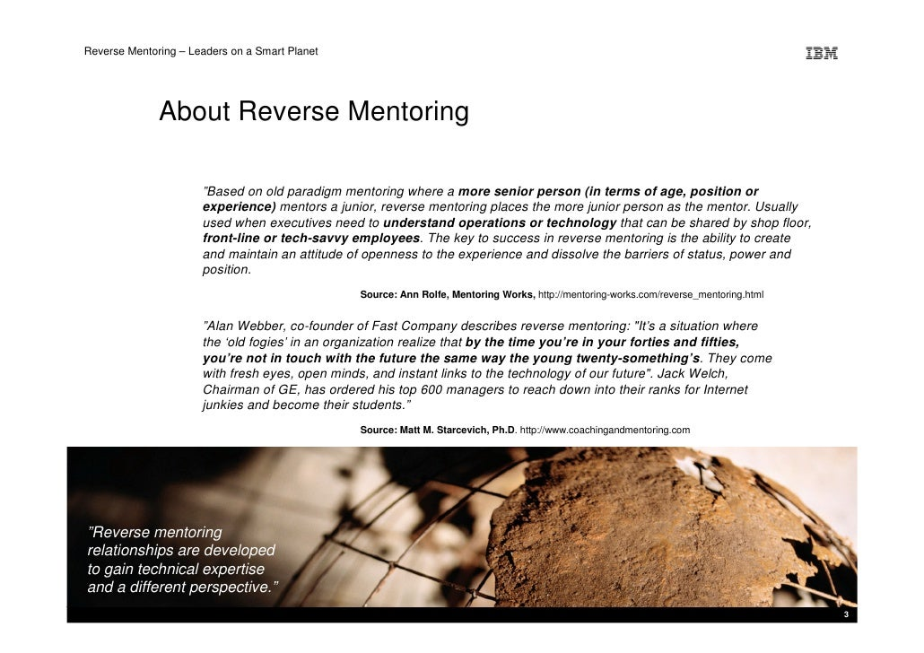 """Reverse Mentoring – Leaders on a Smart Planet                   About Reverse Mentoring                        """"Based on o..."""