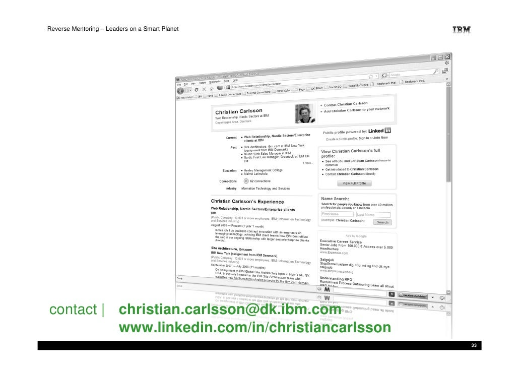 Reverse Mentoring – Leaders on a Smart Planet     contact   christian.carlsson@dk.ibm.com           www.linkedin.com/in/ch...