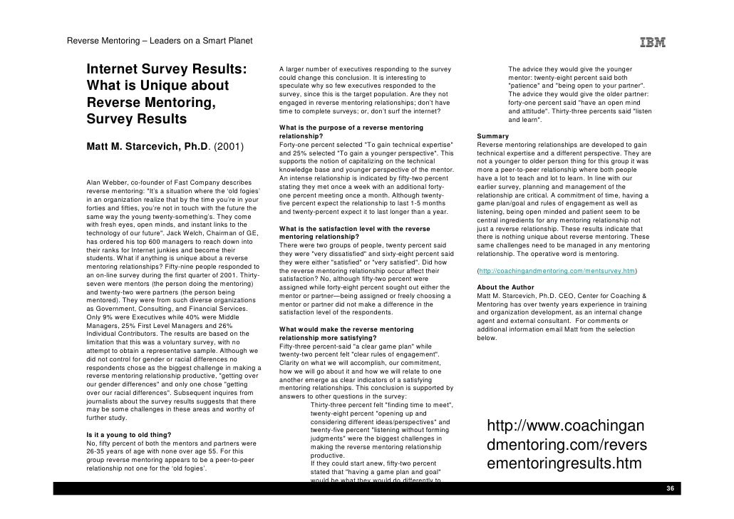Reverse Mentoring – Leaders on a Smart Planet       Internet Survey Results:                                       A large...