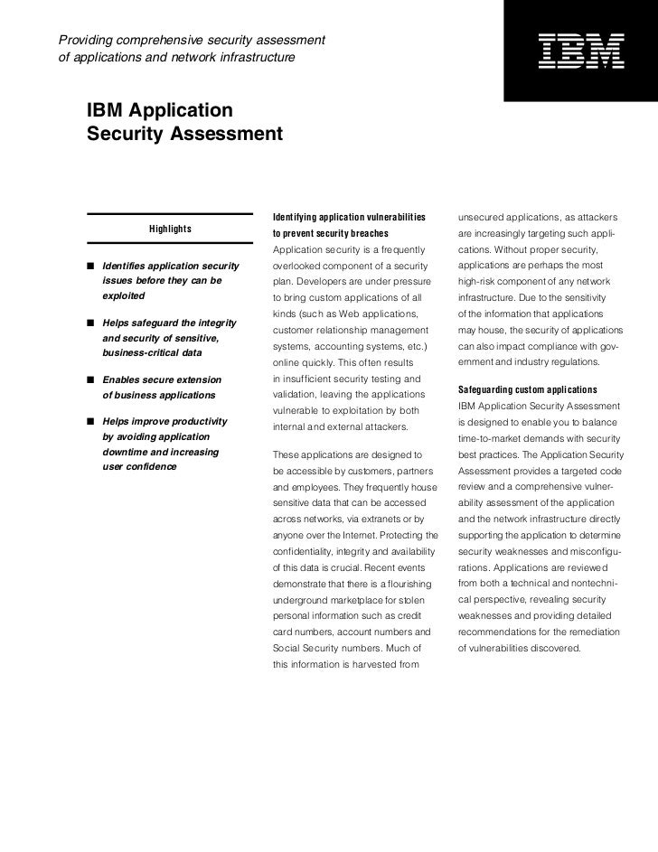 Providing comprehensive security assessmentof applications and network infrastructure    IBM Application    Security Asses...