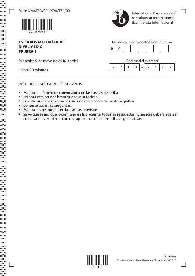 Modelo De Examen De Matematicas Ib