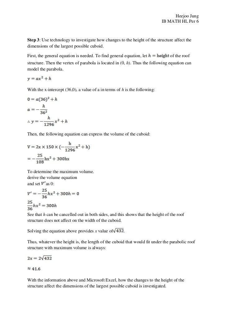 Ib Math Hl Ia Modeling A Functional Building