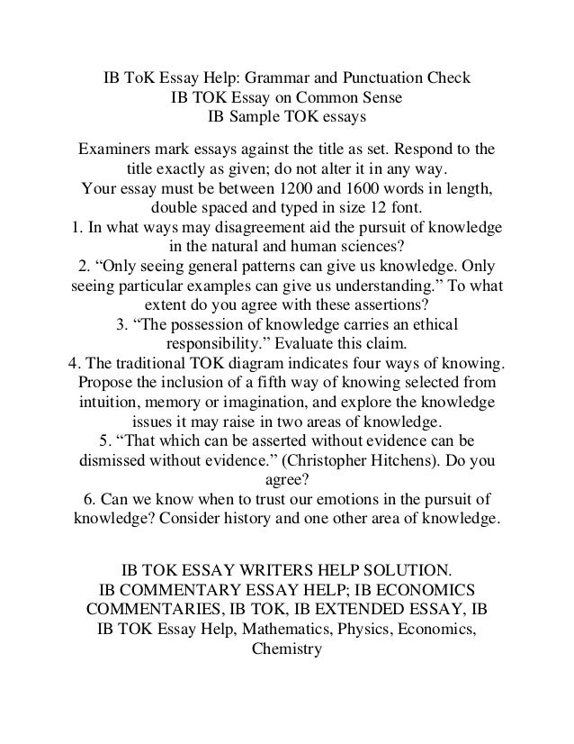 Mathematics tok essay