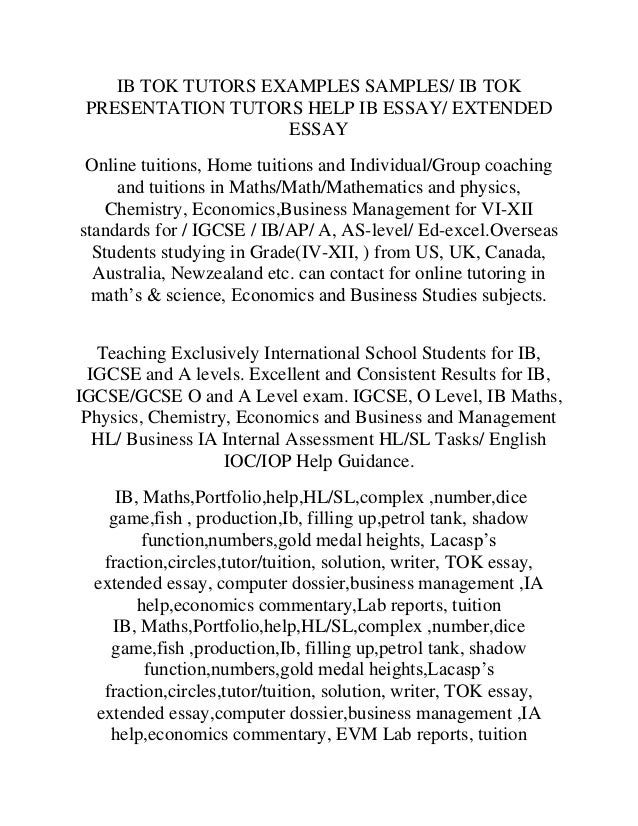 math extended essay exemplars See example essay titles for the extended essay -- part of the international baccalaureate® diploma programme.