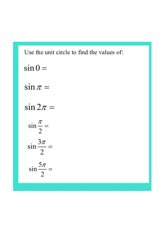 IB Maths unit circle – Unit Circle Worksheet