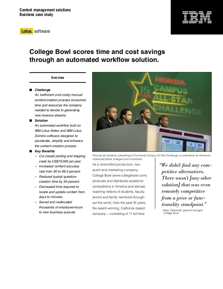 Content management solutionsBusiness case study     College Bowl scores time and cost savings     through an automated wor...