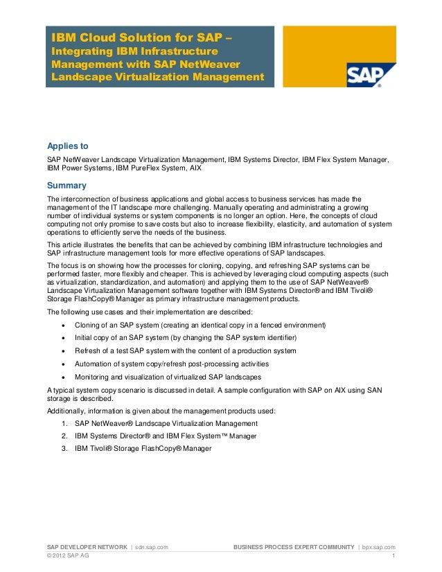 SAP DEVELOPER NETWORK | sdn.sap.com BUSINESS PROCESS EXPERT COMMUNITY | bpx.sap.com © 2012 SAP AG 1 IBM Cloud Solution for...