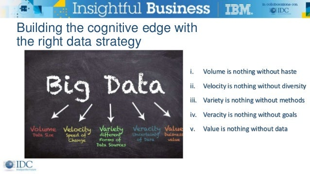 Building the cognitive edge with the right data strategy i. Volume is nothing without haste ii. Velocity is nothing withou...