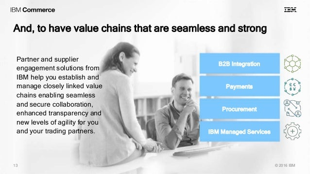And, to have value chains that are seamless and strong © 2016 IBM13 B2B Integration Procurement Payments IBM Managed Servi...