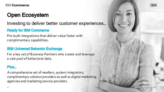 Open Ecosystem © 2016 IBM27 Ready for IBM Commerce Pre-built integrations that deliver value faster with complimentary cap...