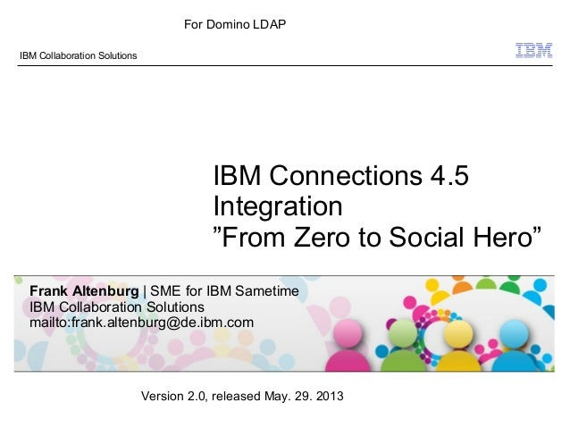 "© 2009 IBM CorporationIBM Collaboration SolutionsIBM Connections 4.5Integration""From Zero to Social Hero""Frank Altenburg 