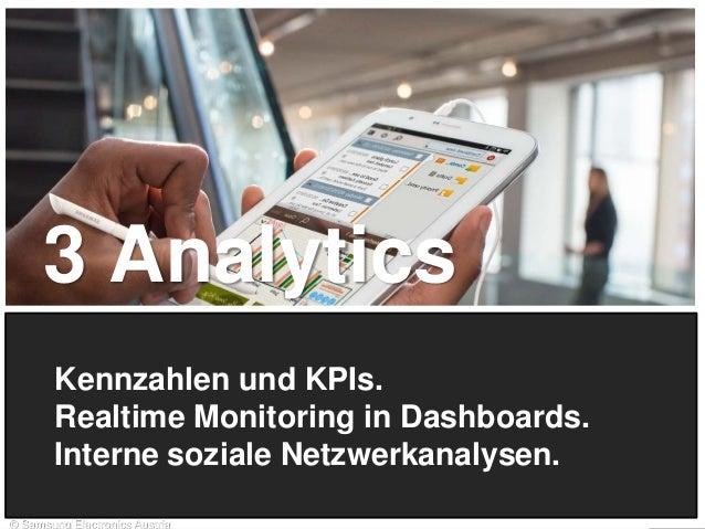 3 Analytics Kennzahlen und KPIs. Realtime Monitoring in Dashboards. Interne soziale Netzwerkanalysen. 13 © Samsung Electro...