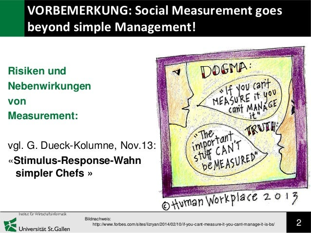 VORBEMERKUNG: Social Measurement goes beyond simple Management! Risiken und Nebenwirkungen von Measurement: vgl. G. Dueck-...