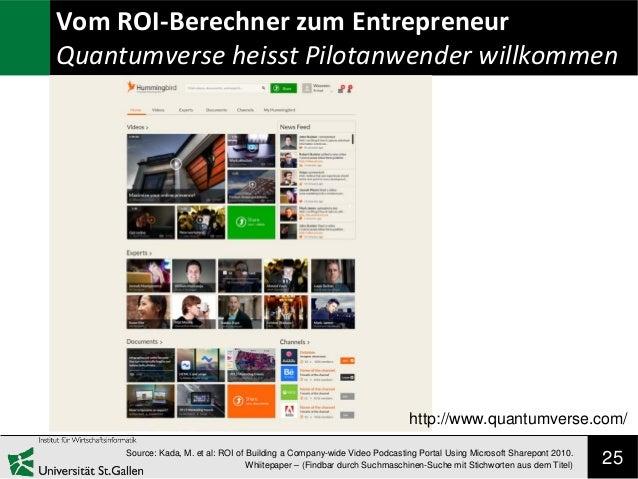 Vom ROI-Berechner zum Entrepreneur Quantumverse heisst Pilotanwender willkommen  http://www.quantumverse.com/ Source: Kada...