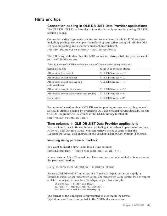 Ibm db2 10 5 for linux, unix, and windows developing ado net
