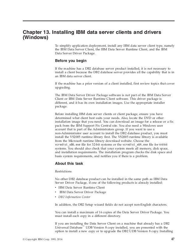 Ibm db2 10 5 for linux, unix, and windows installing ibm data serve…