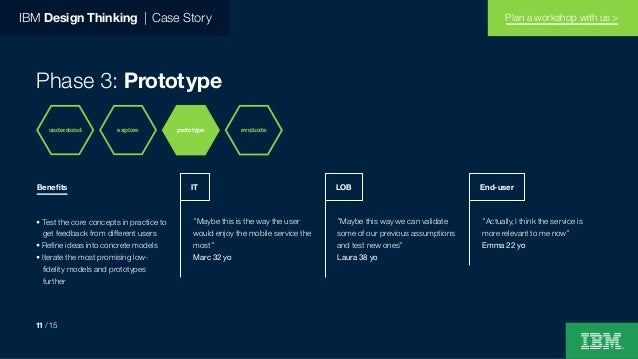 """IBM Design Thinking   Case Story Phase 3: Prototype """"Maybe this is the way the user would enjoy the mobile service the mos..."""