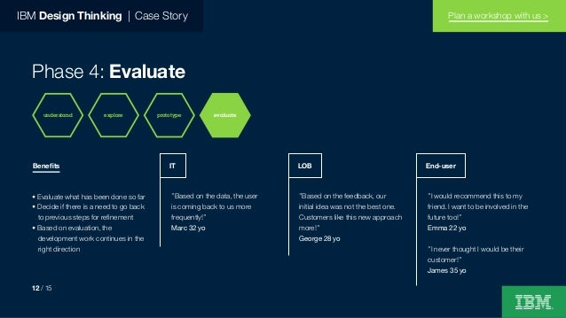 """IBM Design Thinking   Case Story Phase 4: Evaluate """"Based on the data, the user is coming back to us more frequently!"""" Mar..."""