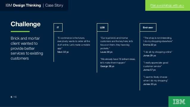 IBM Design Thinking   Case Story Challenge Brick and mortar client wanted to provide better services to existing customers...