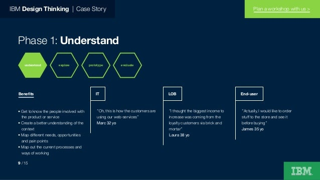 """IBM Design Thinking   Case Story Phase 1: Understand """"Oh, this is how the customers are using our web-services"""" Marc 32 yo..."""