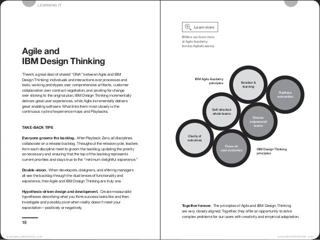 Together forever. The principles of Agile and IBM Design Thinking are very closely aligned. Together, they offer an opport...
