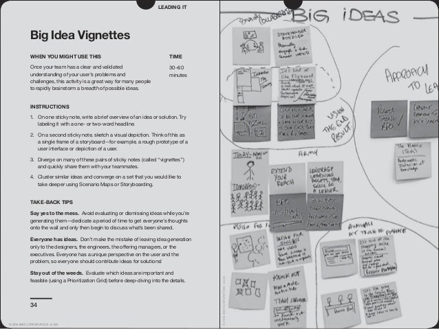 34 Big Idea Vignettes WHEN YOU MIGHT USE THIS Once your team has a clear and validated understanding of your user's proble...