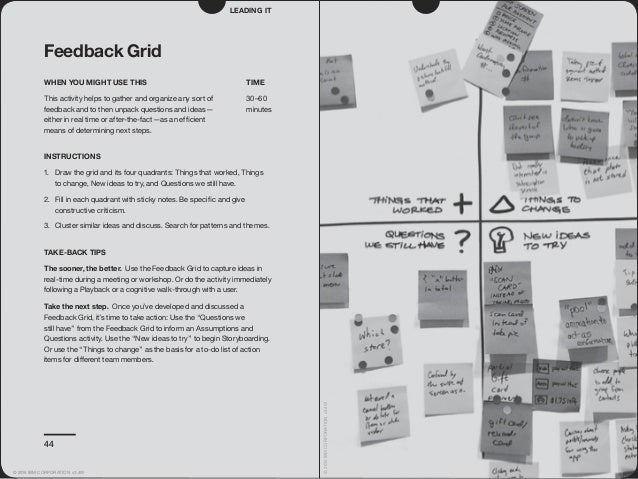 44 Feedback Grid WHEN YOU MIGHT USE THIS This activity helps to gather and organize any sort of feedback and to then unpac...