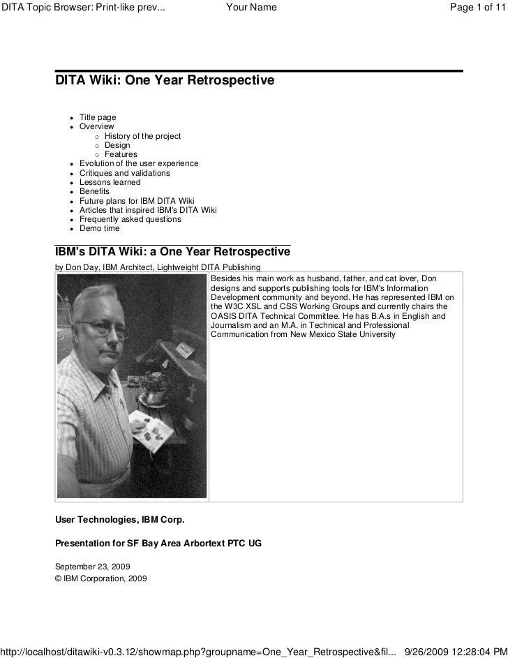 IBM DITA Wiki One Year Retrospective