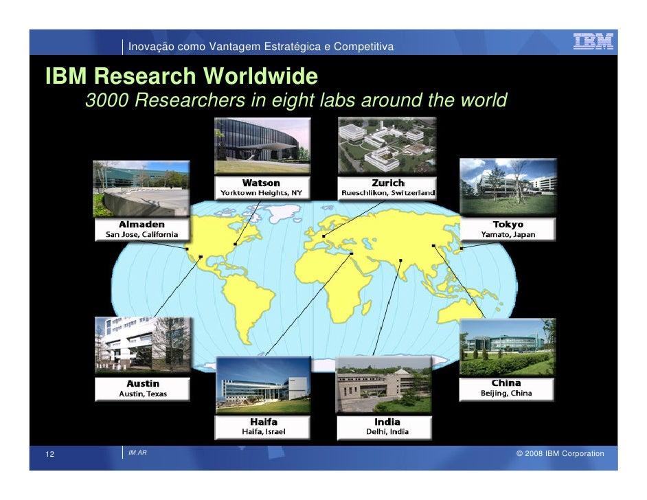 Inovação como Vantagem Estratégica e Competitiva  IBM Research Worldwide      3000 Researchers in eight labs around the wo...