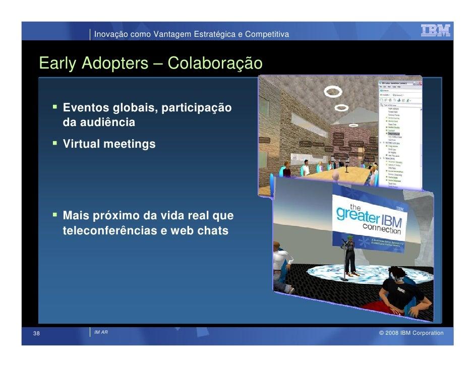 Inovação como Vantagem Estratégica e Competitiva    Early Adopters – Colaboração       Eventos globais, participação      ...