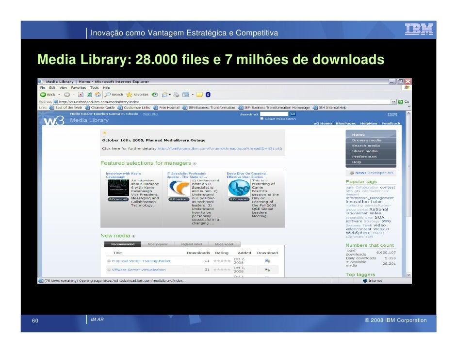 Inovação como Vantagem Estratégica e Competitiva    Media Library: 28.000 files e 7 milhões de downloads                  ...