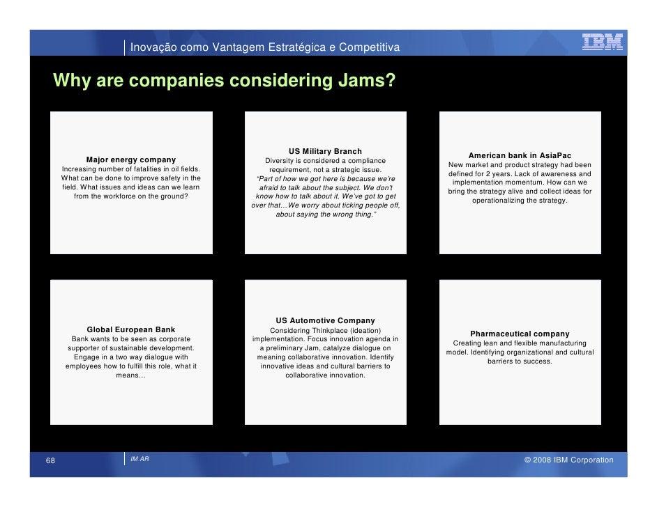 Inovação como Vantagem Estratégica e Competitiva    Why are companies considering Jams?                                   ...