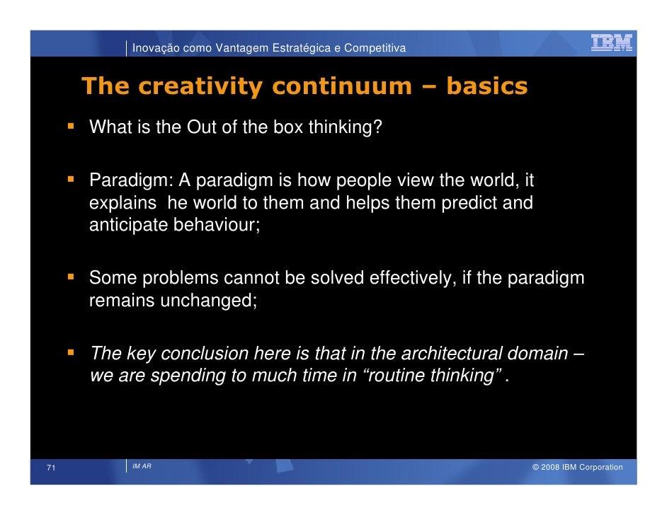 Inovação como Vantagem Estratégica e Competitiva        The creativity continuum – basics      What is the Out of the box ...